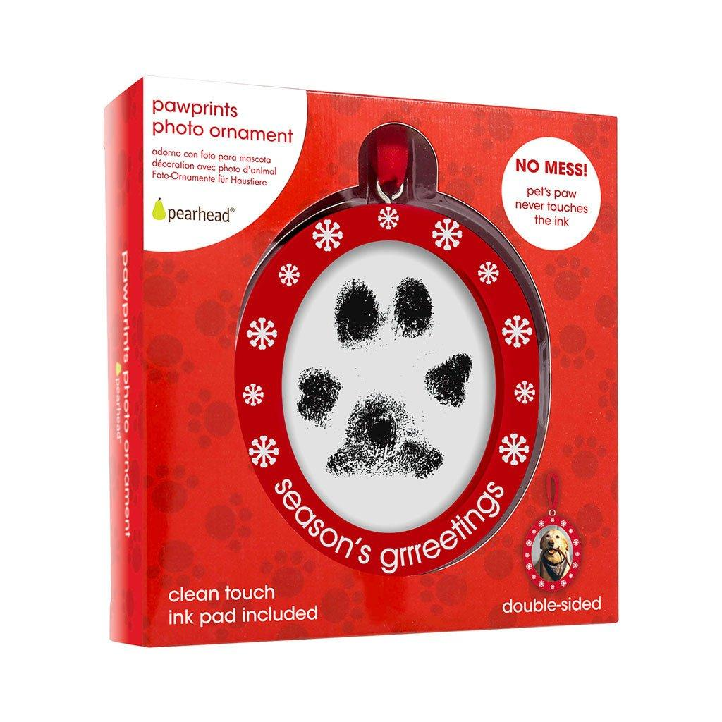 Pearhead Pawprints Double-Sided Photo Ornament