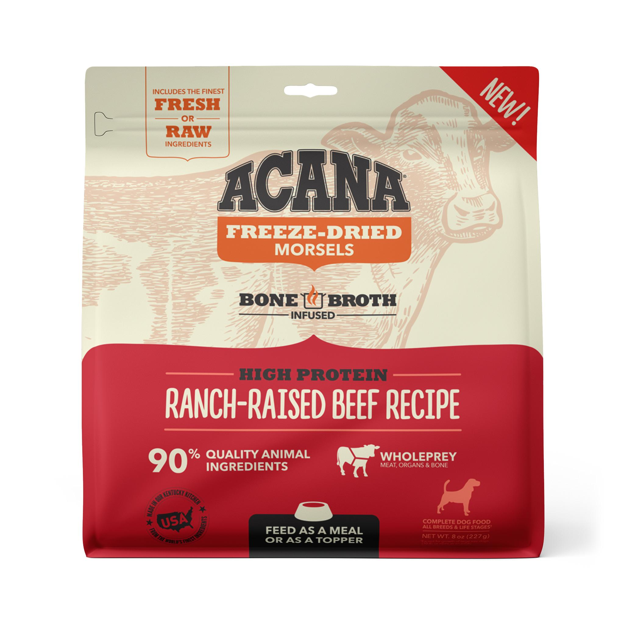 ACANA Ranch-Raised Beef Recipe Morsels Grain-Free Freeze-Dried Dog Food, 8-oz (Size: 8-oz) Image