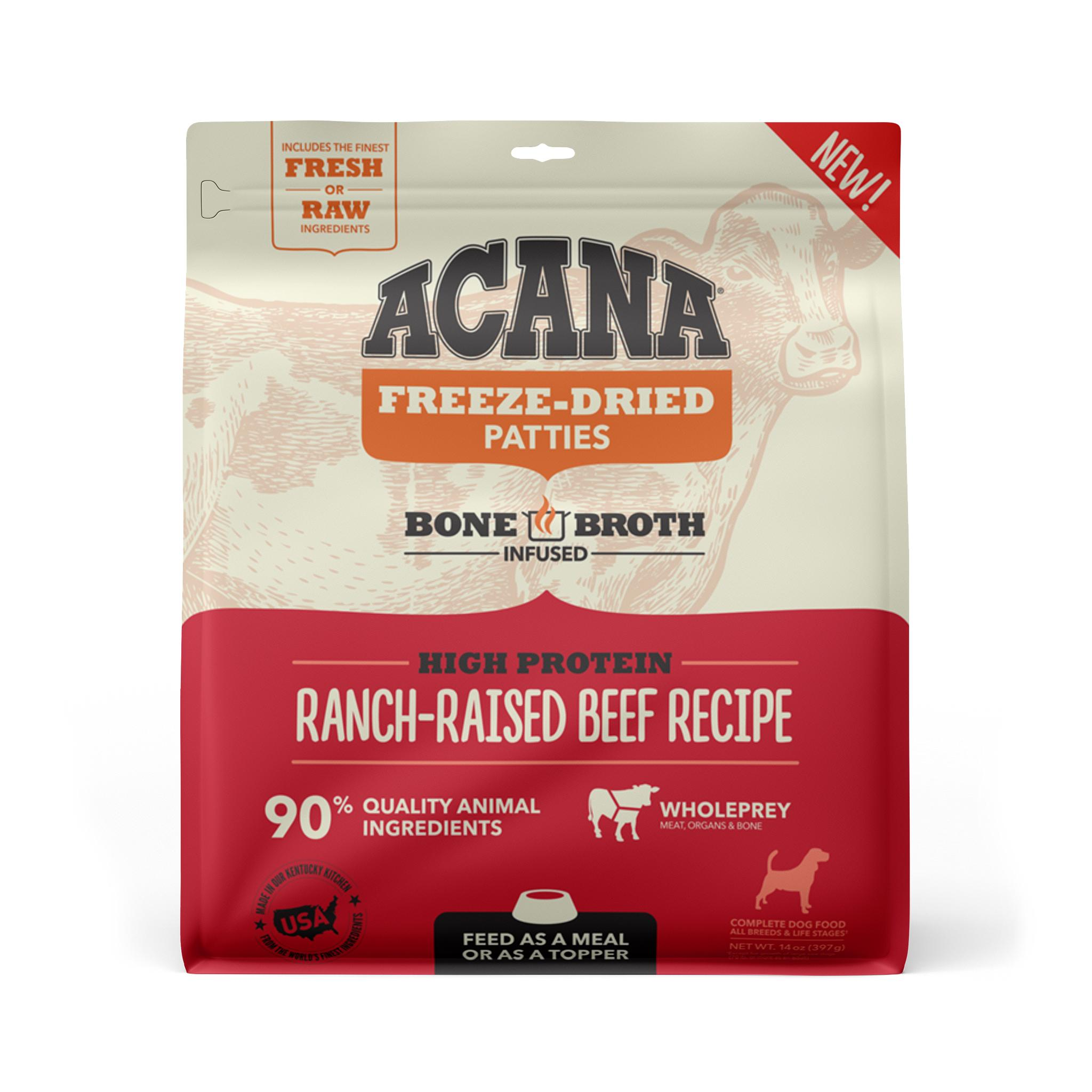 ACANA Ranch-Raised Beef Recipe Patties Grain-Free Freeze-Dried Dog Food, 14-oz (Size: 14-oz) Image