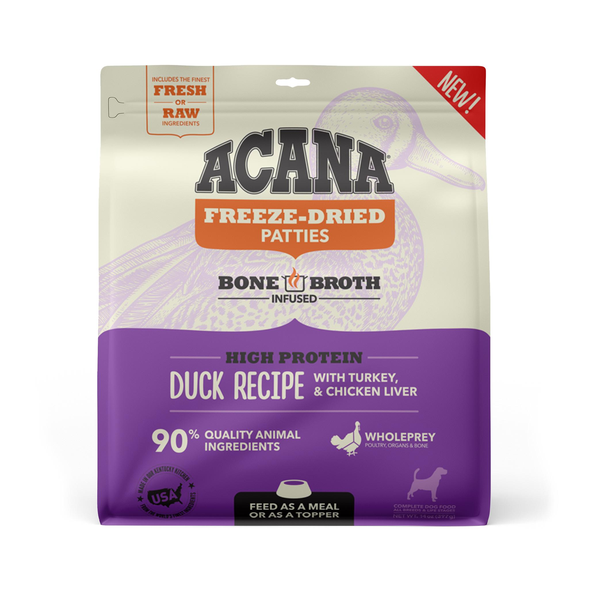 ACANA Duck Recipe Patties Grain-Free Freeze-Dried Dog Food, 14-oz (Size: 14-oz) Image