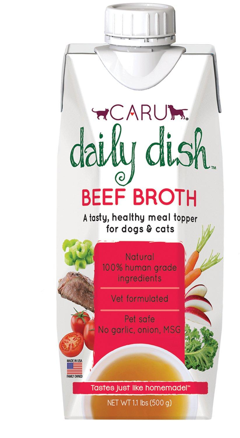 Caru Daily Dish Beef Broth Dog & Cat Wet Food Topper, 1.1-lb