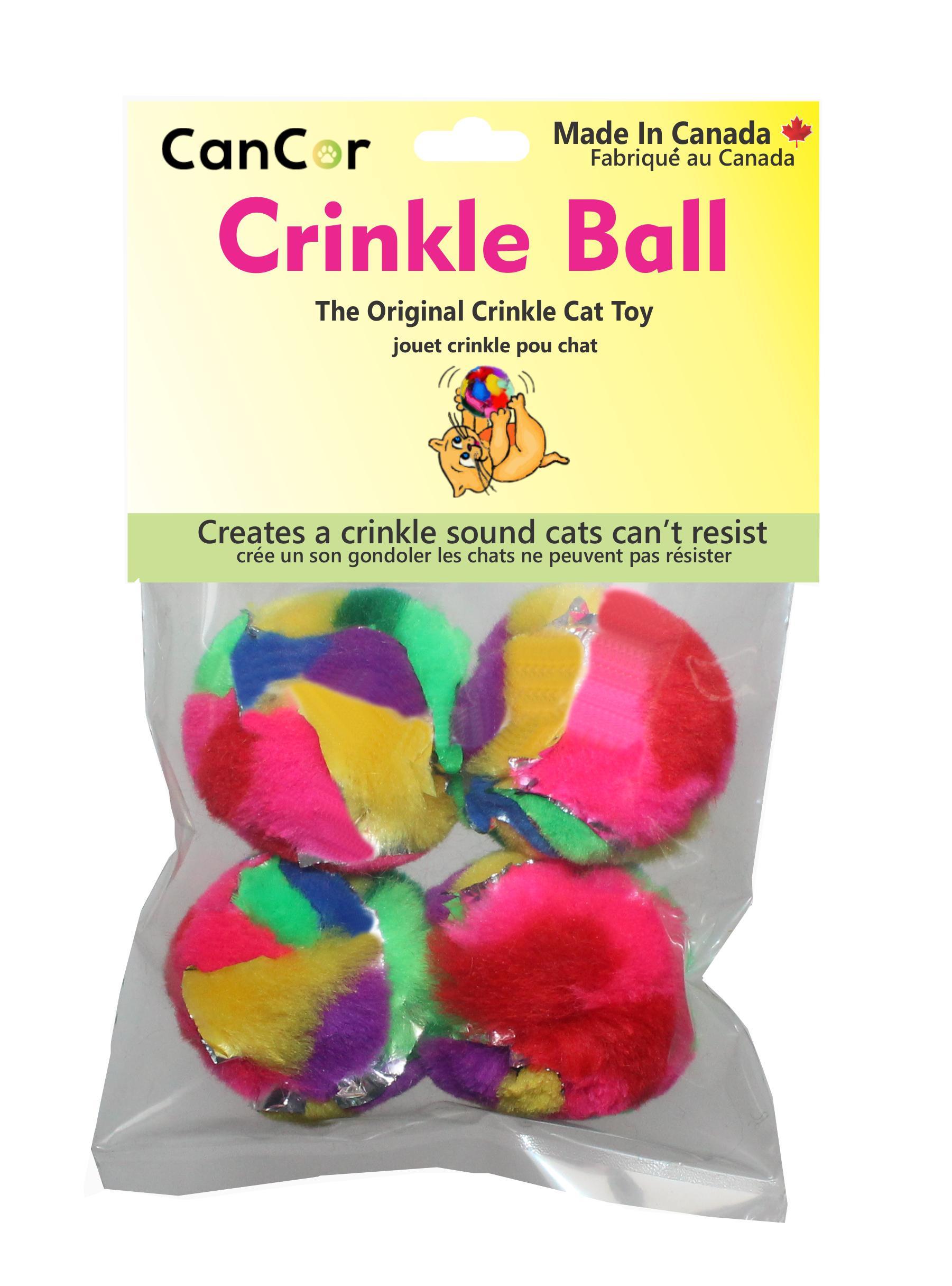 Cancor Mini Crinkle Ball Cat Toy, 4-pk