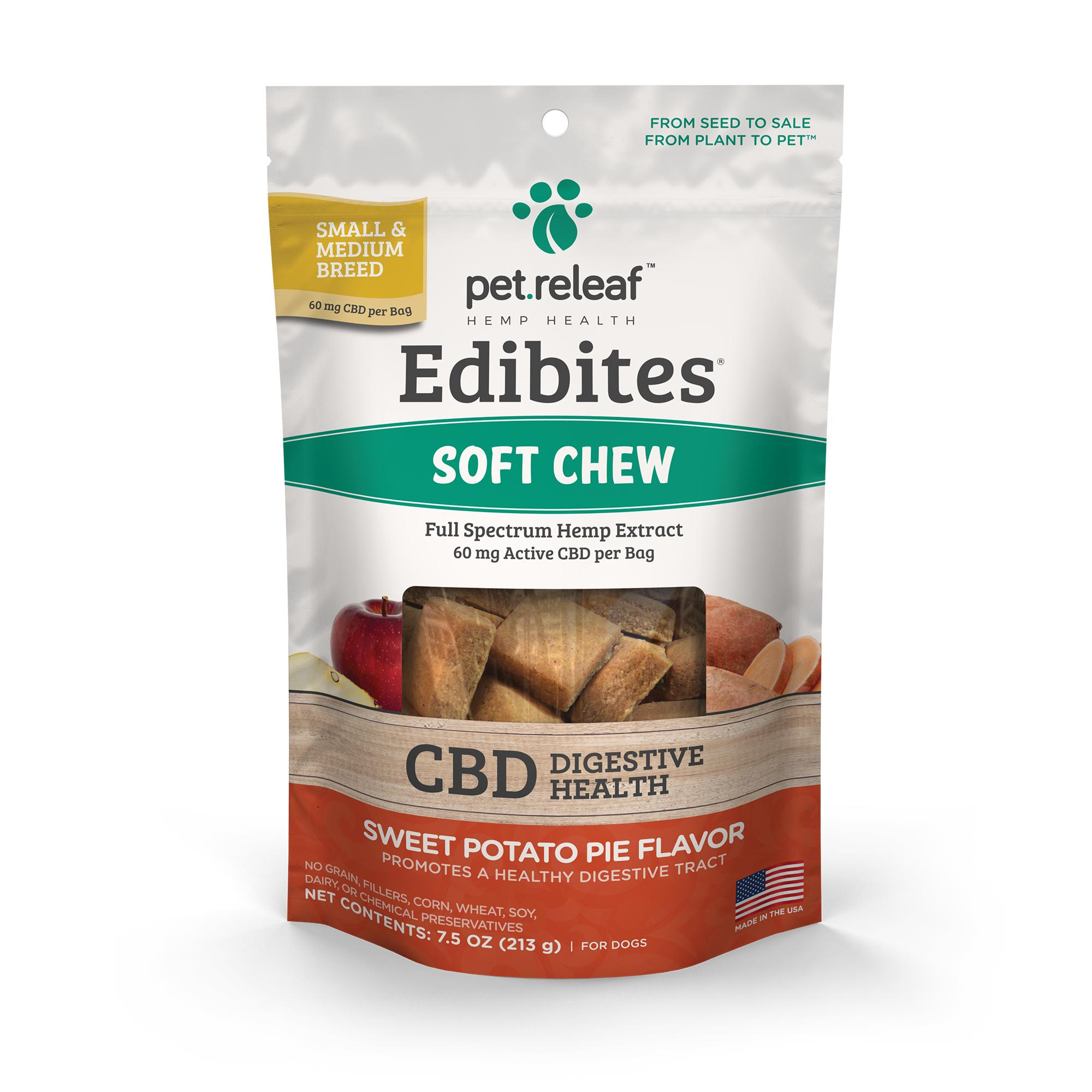 Pet Releaf Edibites Soft Chew Digestive Health Sweet Potato Small & Medium Breed Dog Supplement, 7.5-oz