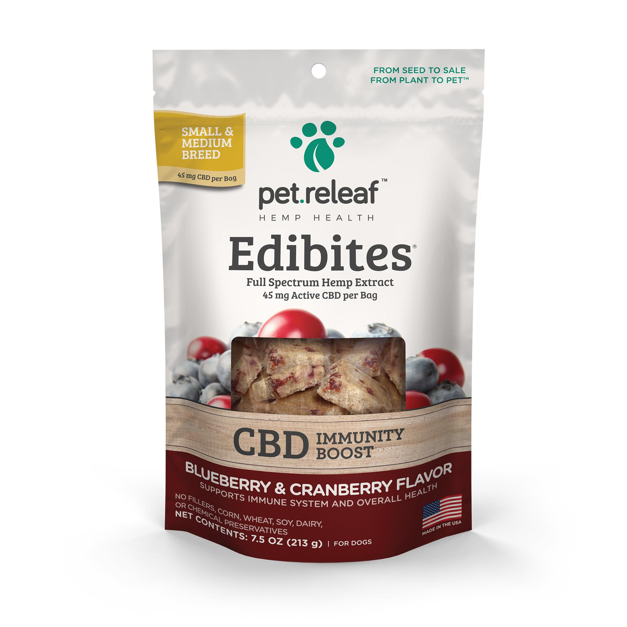 Pet Releaf Edibites Immunity Boost Blueberry & Cranberry Small & Medium Breed Dog Supplement, 7.5-oz