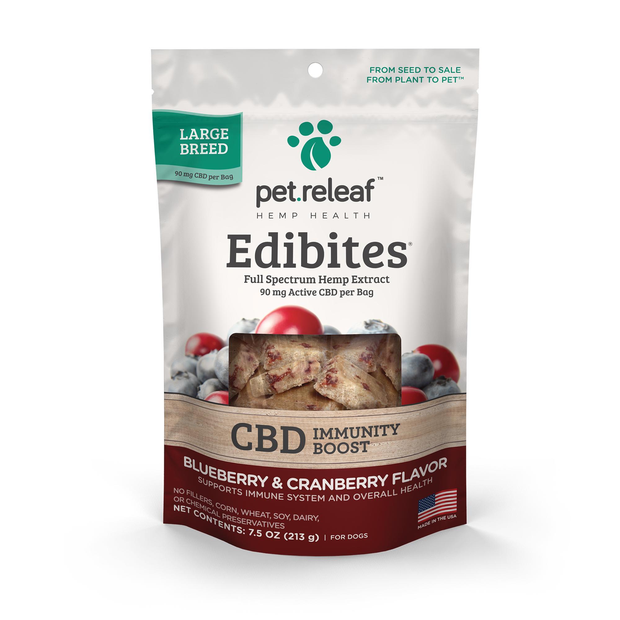 Pet Releaf Edibites Immunity Boost Blueberry & Cranberry Large Breed Dog Supplement, 7.5-oz