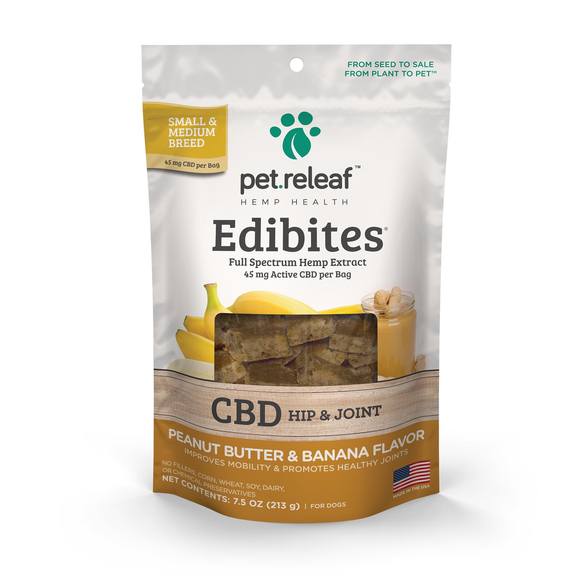 Pet Releaf Edibites Hip & Joint Peanut Butter & Banana Small & Medium Breed Dog Supplement, 7.5-oz