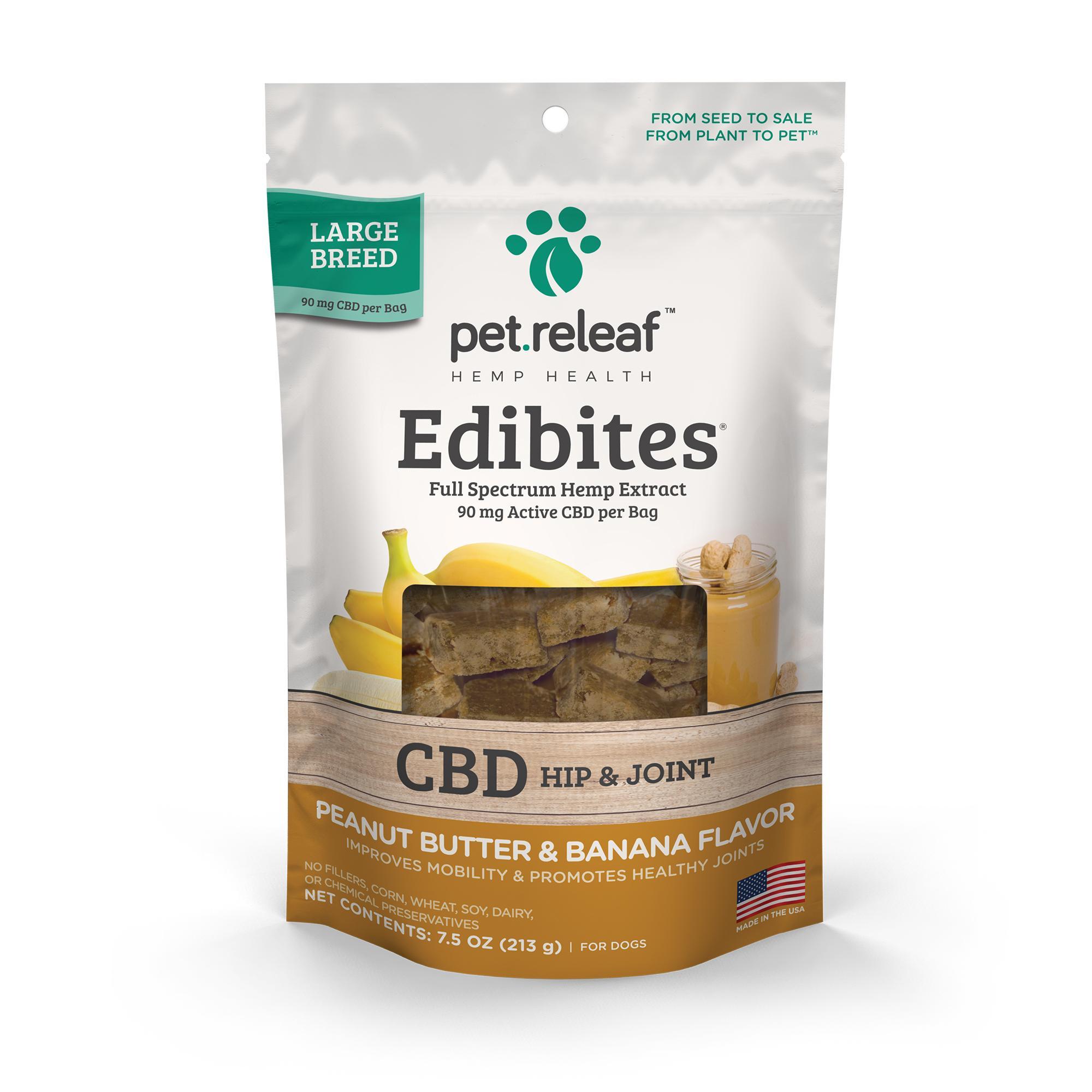 Pet Releaf Edibites Hip & Joint Peanut Butter & Banana Large Breed Dog Supplement, 7.5-oz