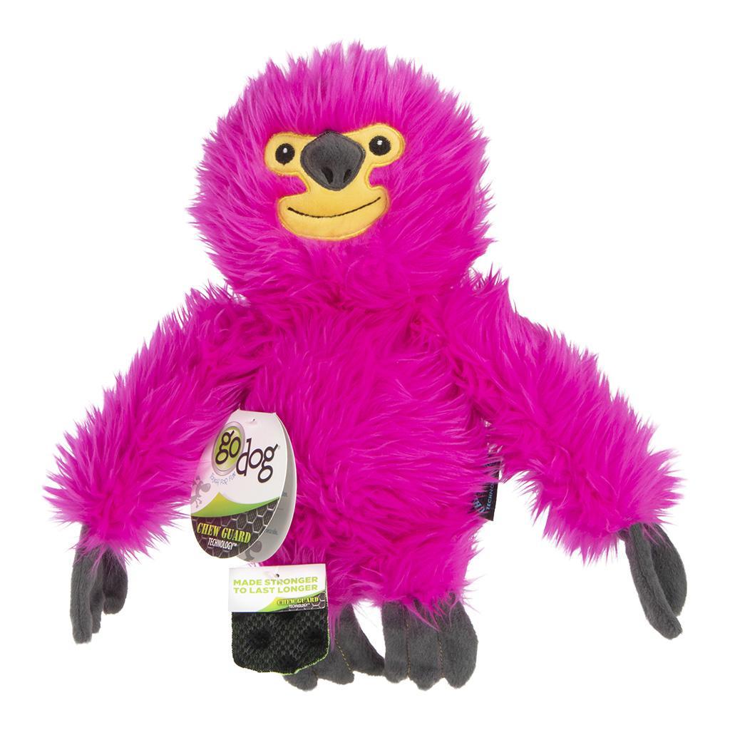 GoDog Fuzzy Sloth Dog Toy, Pink, Large