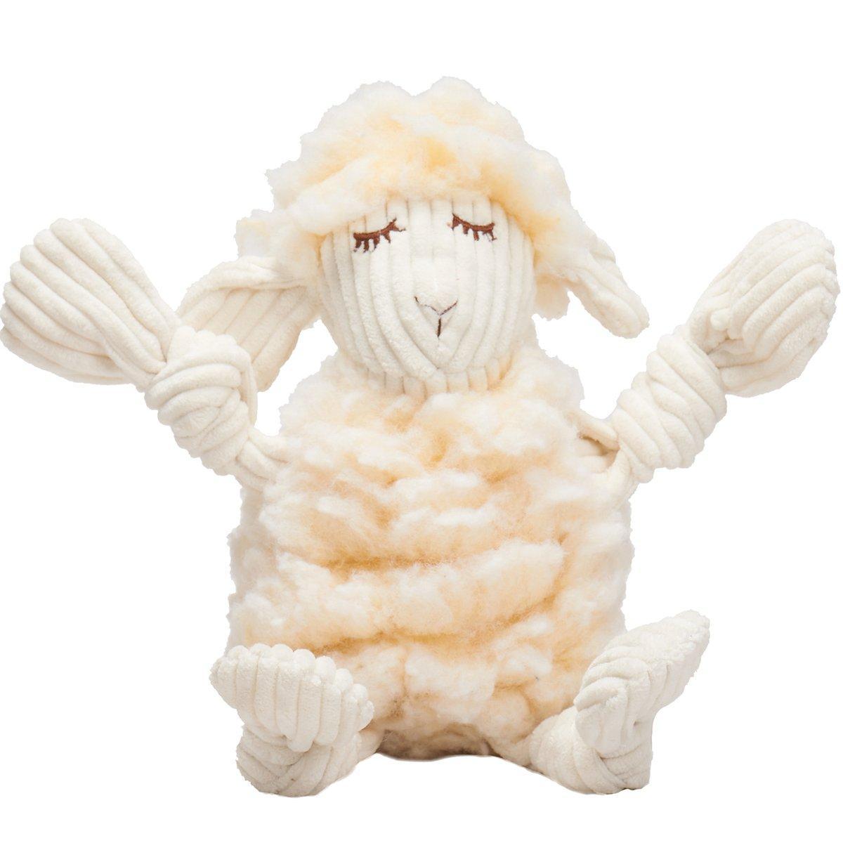 HuggleHounds HuggleFleece FlufferKnottie Louise the Lamb Dog Toy, Small