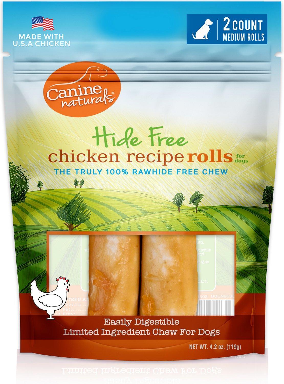 Canine Naturals Hide Free Chicken Rolls Dog Treats, Medium, 2-pk