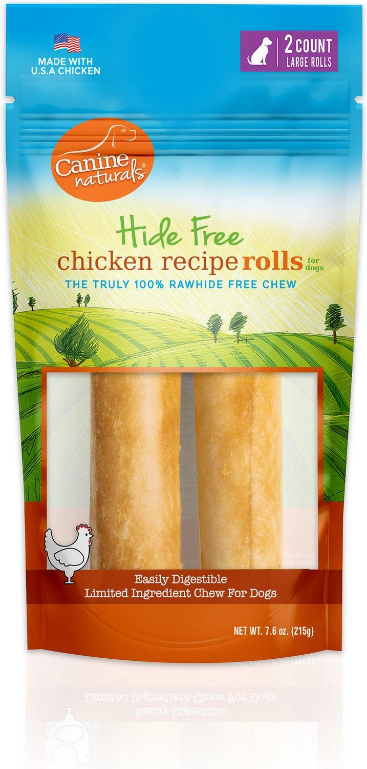 Canine Naturals Hide Free Chicken Rolls Dog Treats, Large, 2-pk