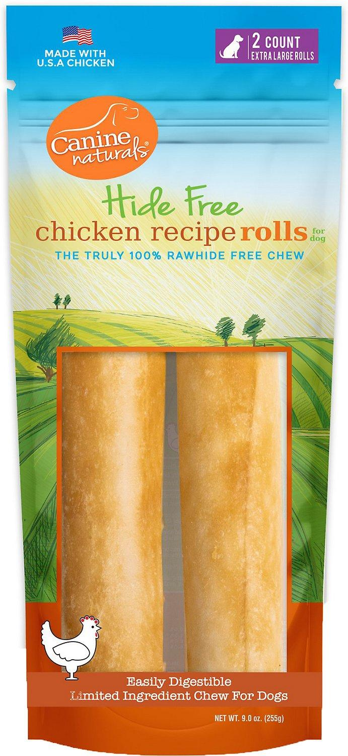 Canine Naturals Hide Free Chicken Rolls Dog Treats, X-Large, 2-pk