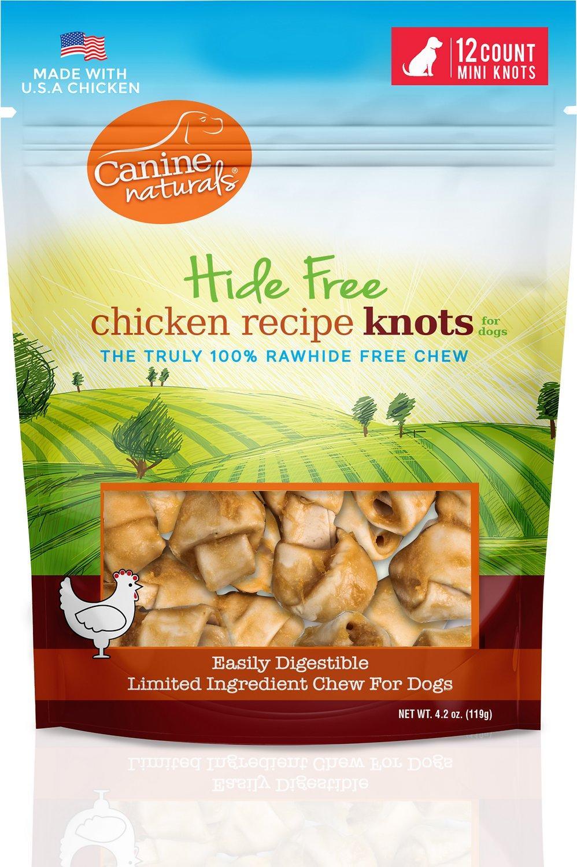 Canine Naturals Hide Free Chicken Knots Dog Treats, Mini, 12-count