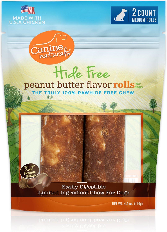 Canine Naturals Peanut Butter Roll Dog Treats, Medium, 2-pk