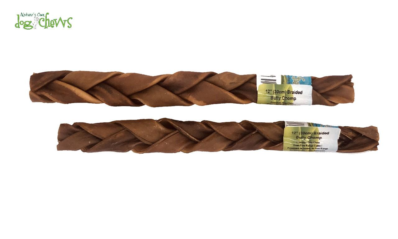 Nature's Own Dog Chews Braided Bully Chomp Odour-Free Dog Treats, 12-in