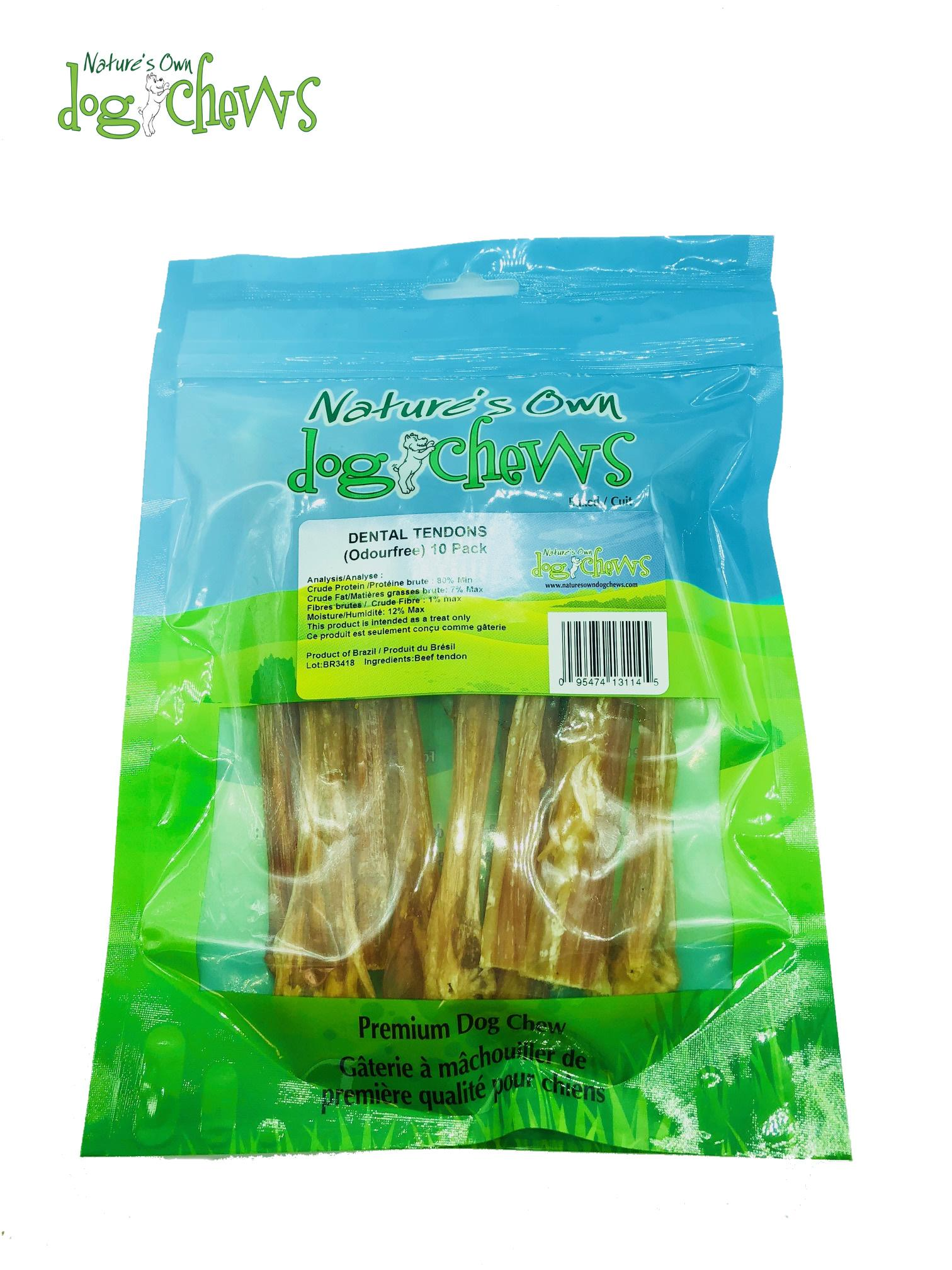 Nature's Own Dog Chews Dental Tendons Treats for Small Dogs, 10-pk