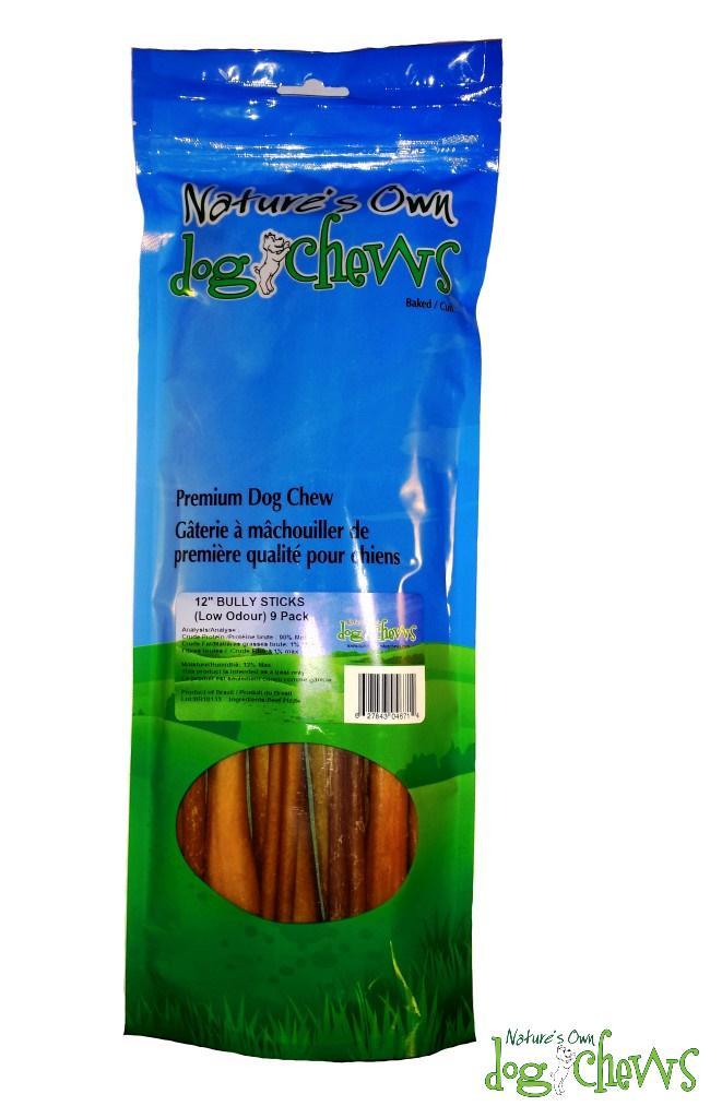 Nature's Own Dog Chews Regular Bully Sticks Odour-Free Dog Treats, 12-in, 9-pk