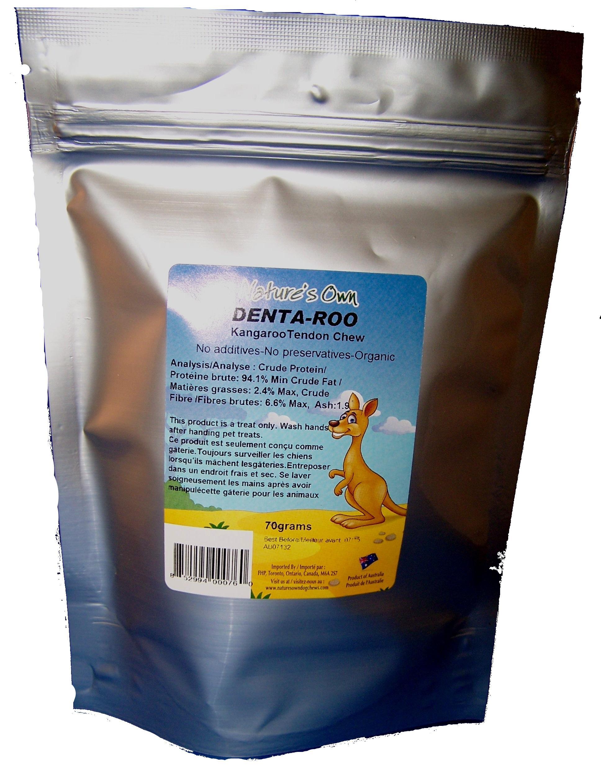 Nature's Own Dog Chews Denta-Roo Kangaroo Tendons Dog Treats, 70-gram