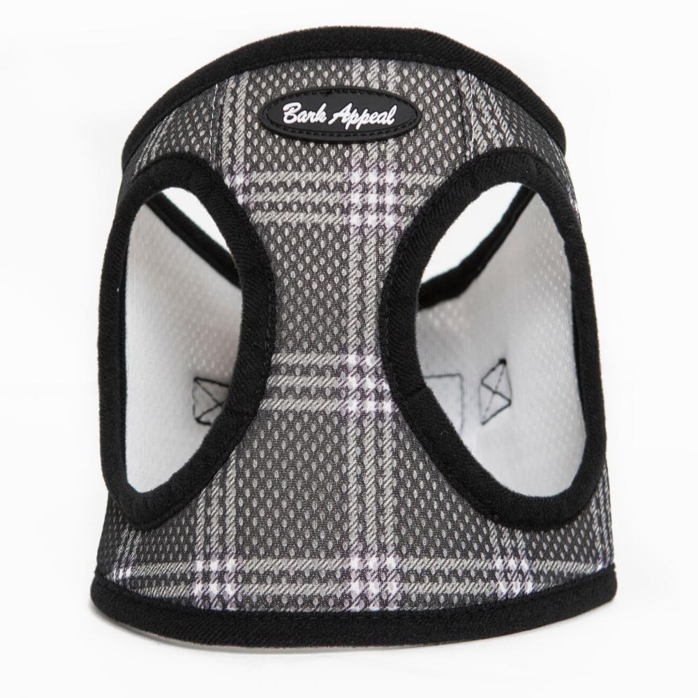 Bark Appeal Mesh EZ Wrap Step In Dog Harness, Black Plaid, Large