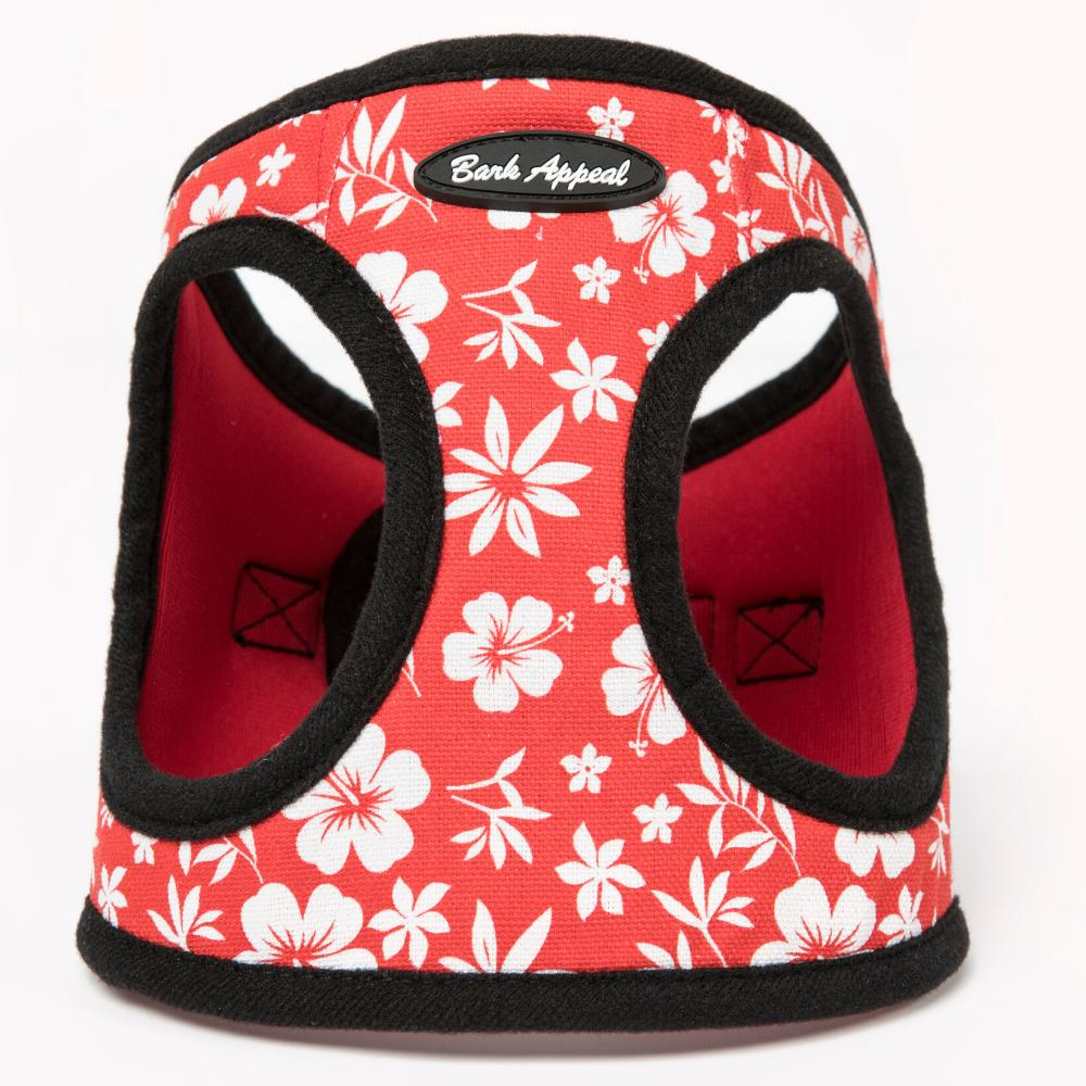 Bark Appeal Canvas/Mesh EZ Wrap Step In Dog Harness, Red Hibiscus, Small