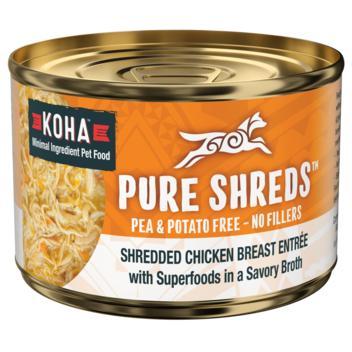Koha Pure Shreds Shredded Chicken Breast & Duck Canned Dog Food, 5.5-oz
