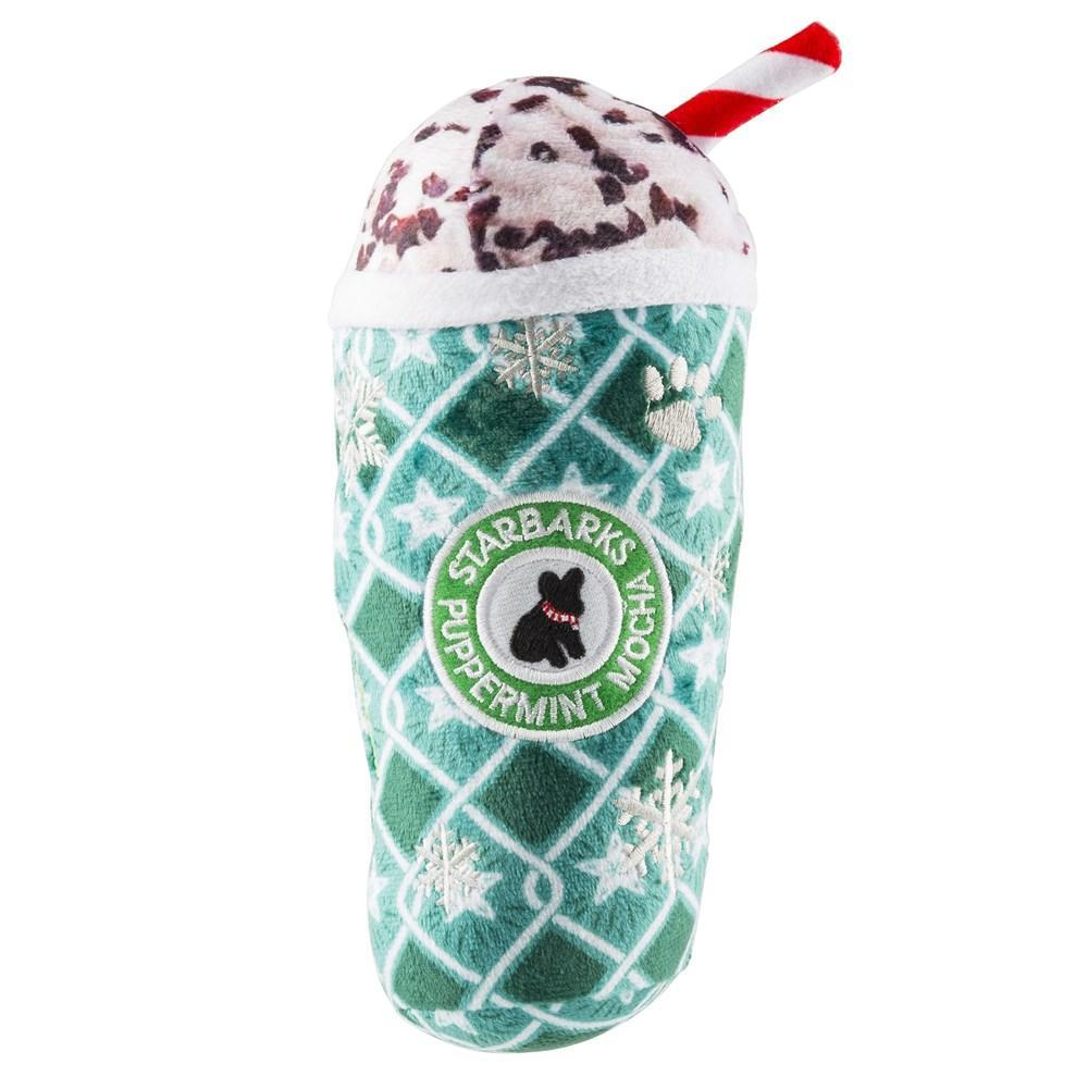Haute Diggity Dog Starbarks Puppermint Mocha Green Stars Cup Dog Toy