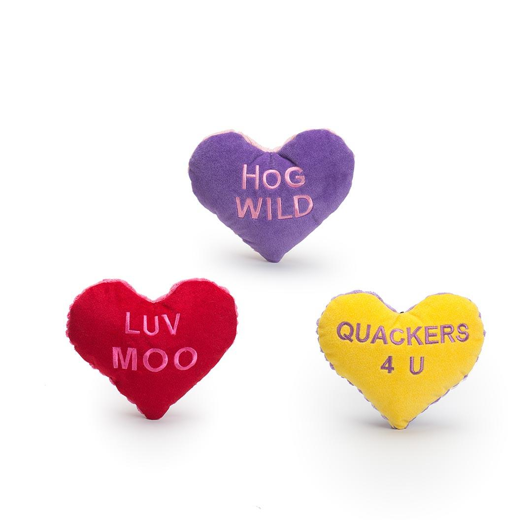 HuggleHounds Valentine's Love Hearts Dog Toy Image