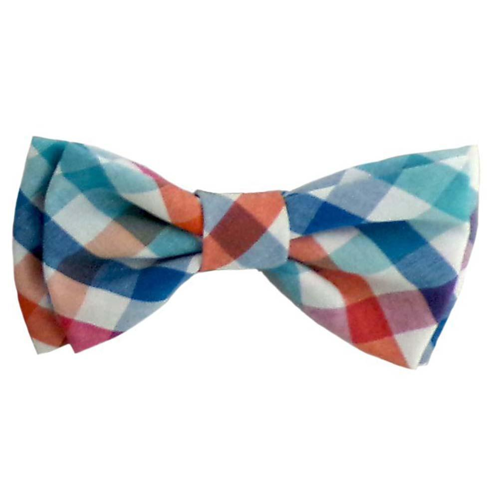 Huxley & Kent Check Dog Bow Tie, Blue/Green, Small