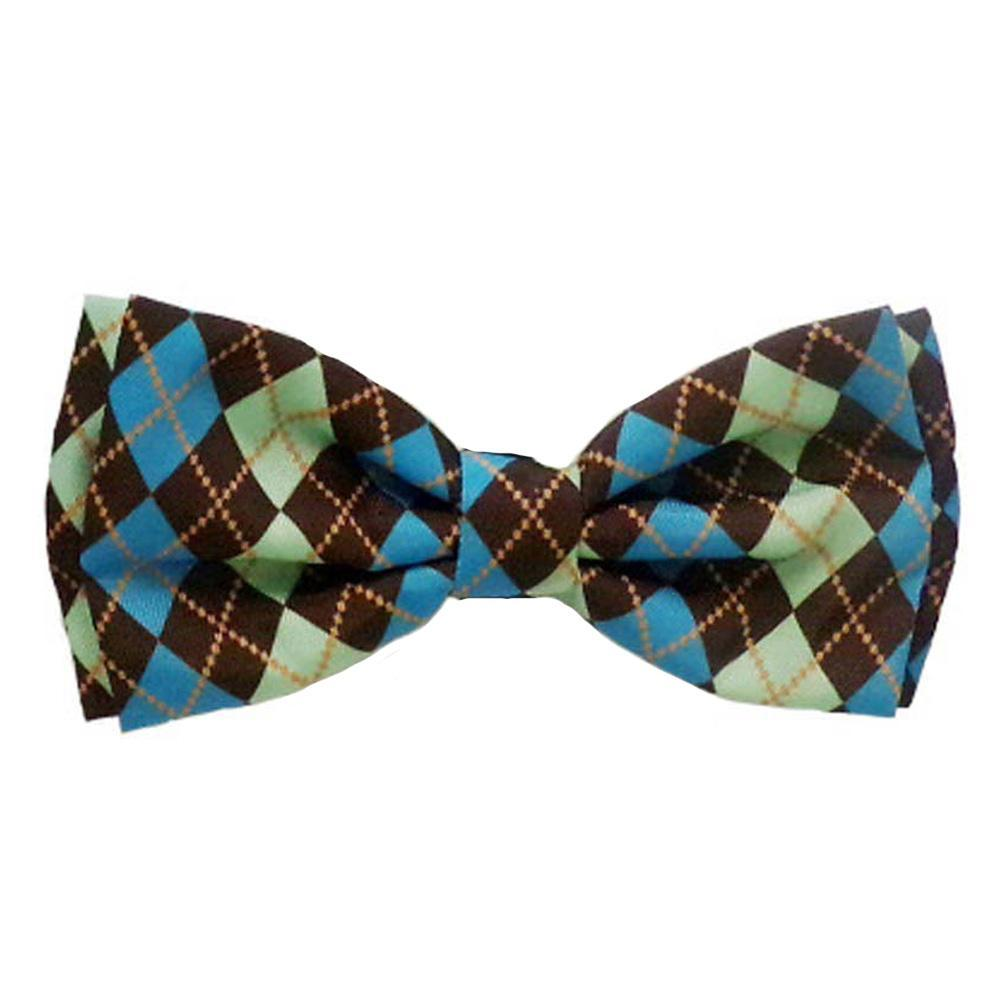 Huxley & Kent Dog Bow Tie, Teal Argyle, Large