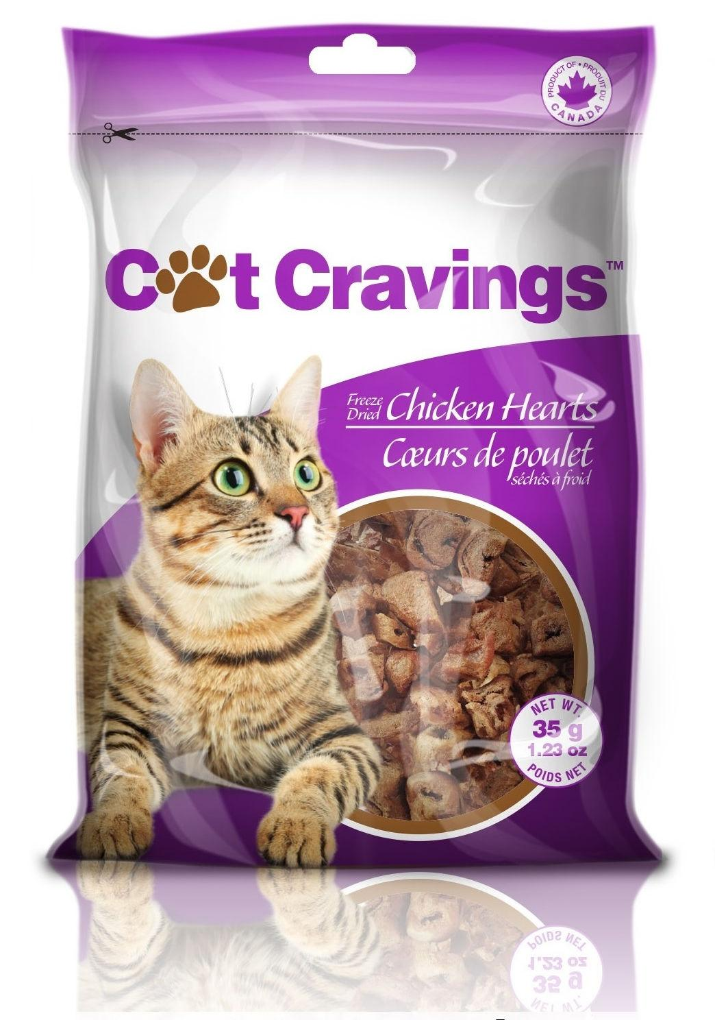 Petz International Cat Cravings Chicken Hearts Freeze-Dried Cat Treats, 35-gram
