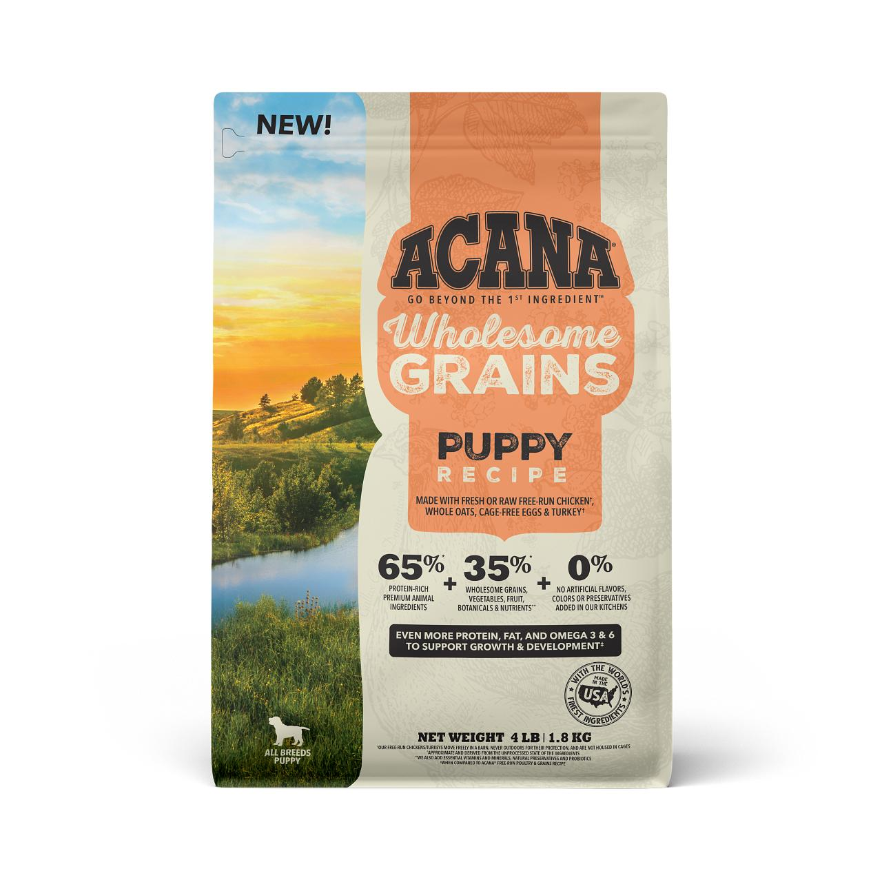 ACANA Wholesome Grains Puppy Recipe Dry Dog Food, 4-lb