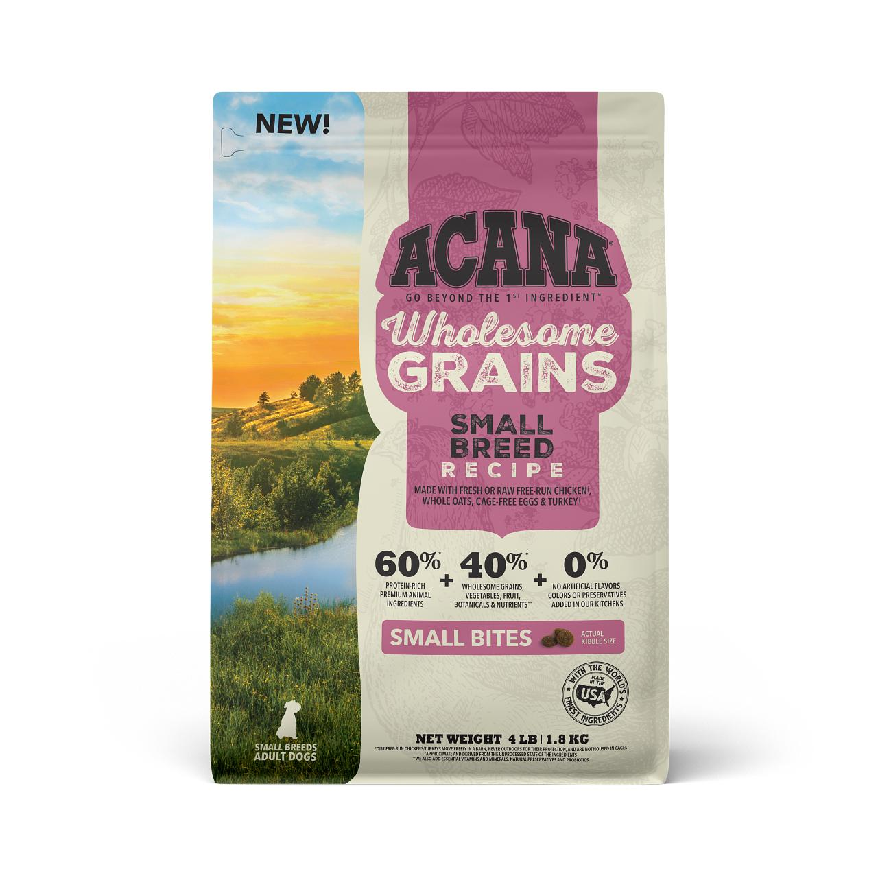 ACANA Wholesome Grains Small Breed Recipe Dry Dog Food, 4-lb