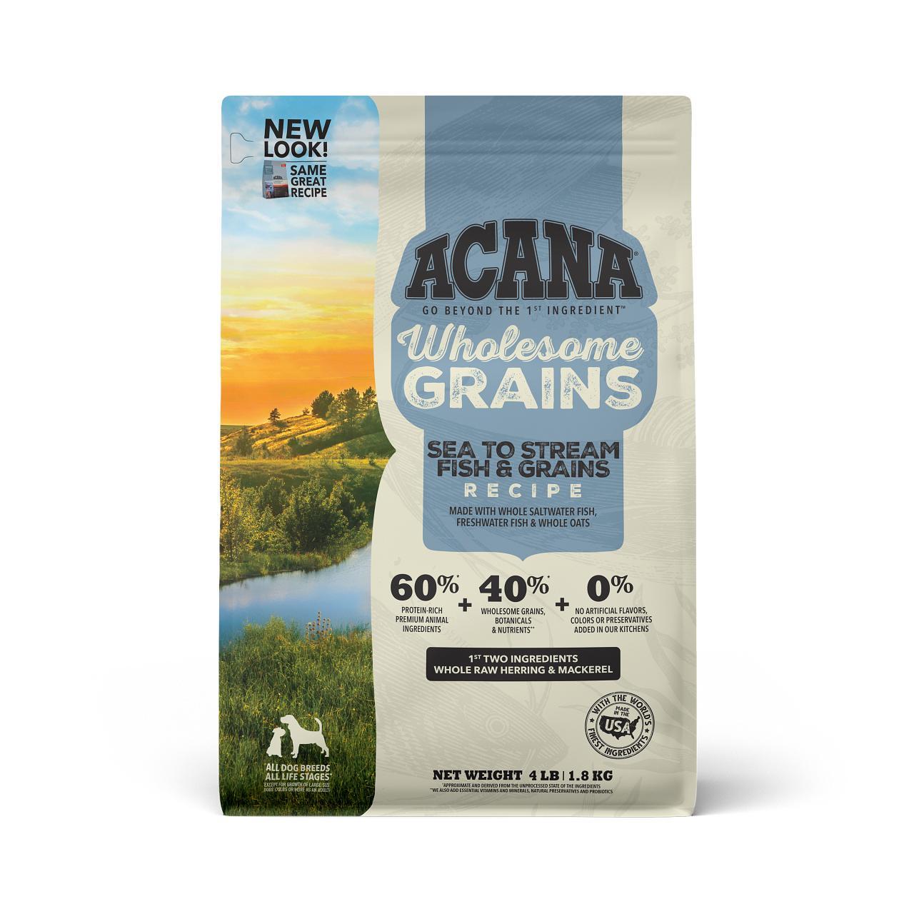 ACANA Wholesome Grains Sea to Stream Recipe Dry Dog Food, 4-lb