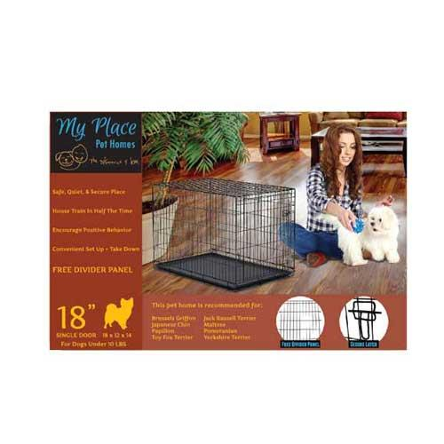 My Place Pet Homes Single Door Wire Pet Crate, 18 x 12 x 14-in