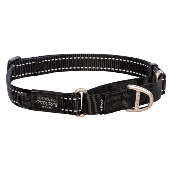 Rogz Snake Web Control Dog Collar, Black, 5/8-in x 12-17-in