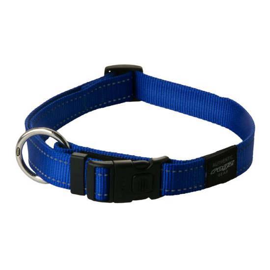 Rogz Snake Clip Dog Collar, Blue, 5/8-in x 10-16-in