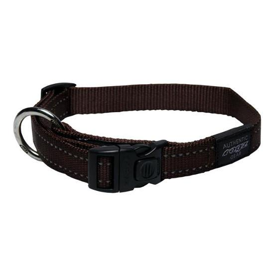 Rogz Snake Clip Dog Collar, Chocolate, 5/8-in x 10-16-in