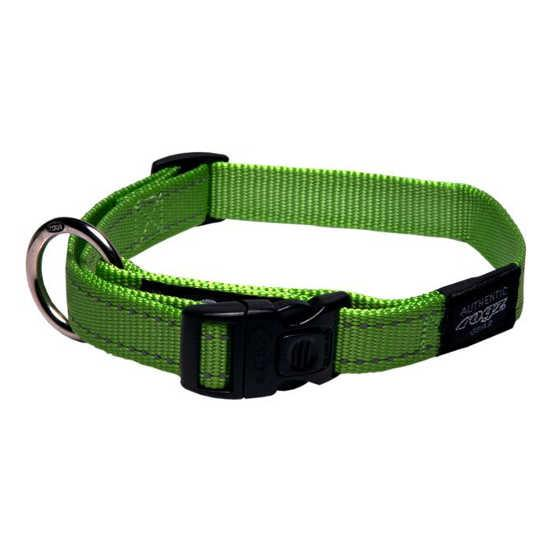 Rogz Snake Clip Dog Collar, Lime, 5/8-in x 10-16-in