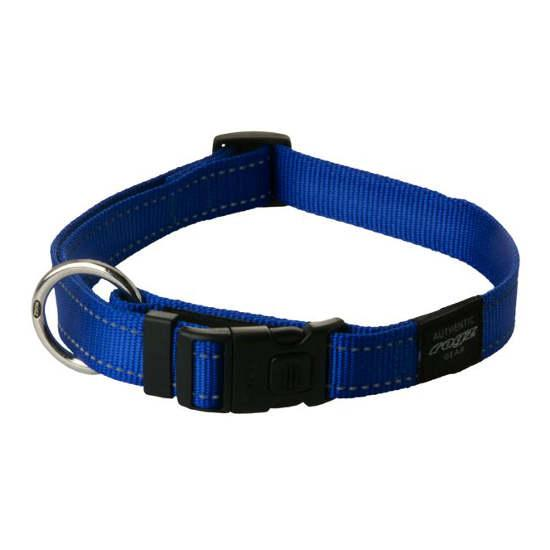 Rogz Fanbelt Clip Dog Collar, Blue, 3/4-in x 13-22-in