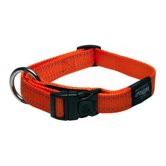 Rogz Fanbelt Clip Dog Collar, Orange, 3/4-in x 13-22-in