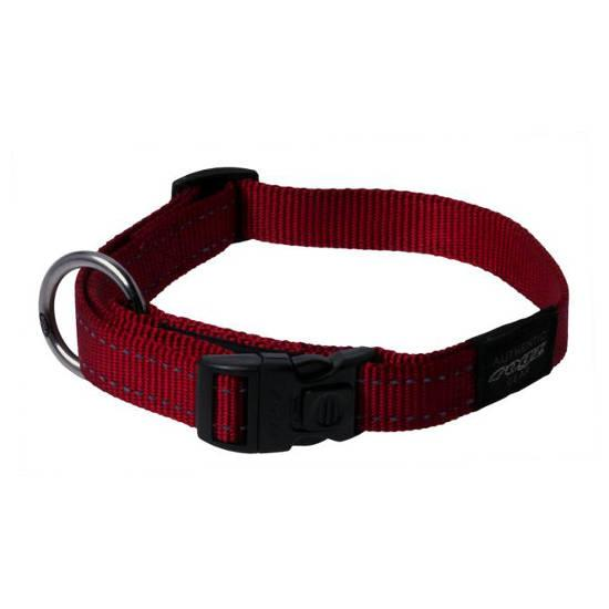Rogz Fanbelt Clip Dog Collar, Red, 3/4-in x 13-22-in