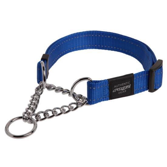 Rogz Fanbelt Half-Check Dog Collar, Blue, 3/4-in x 13-22-in