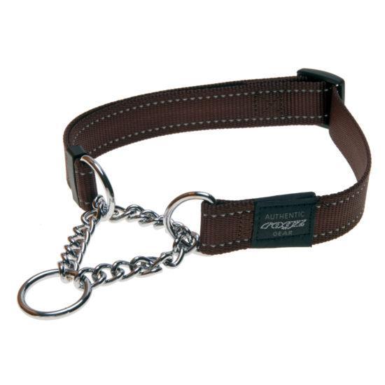 Rogz Fanbelt Half-Check Dog Collar, Chocolate, 3/4-in x 13-22-in