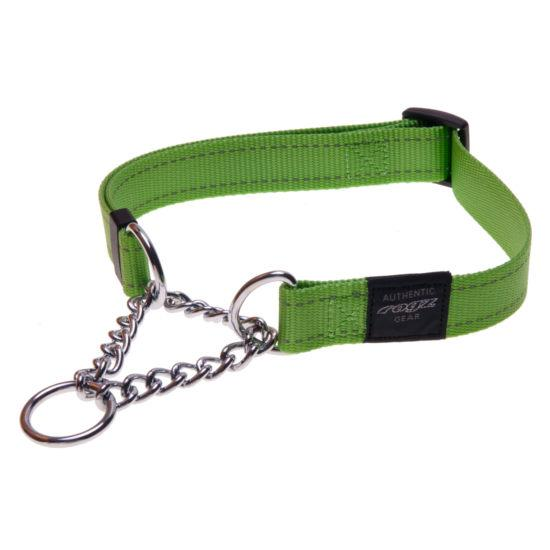 Rogz Fanbelt Half-Check Dog Collar, Lime, 3/4-in x 13-22-in