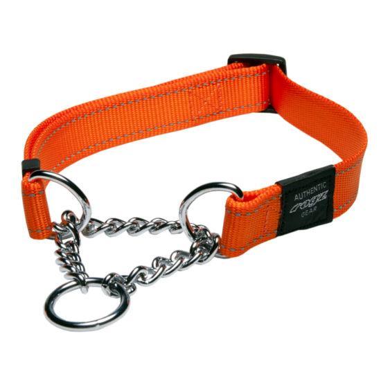 Rogz Fanbelt Half-Check Dog Collar, Orange, 3/4-in x 13-22-in