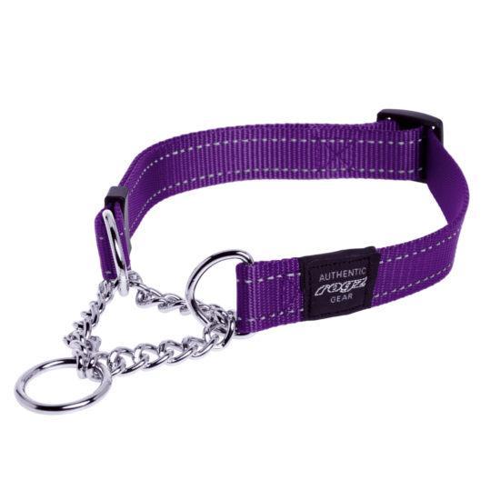 Rogz Fanbelt Half-Check Dog Collar, Purple, 3/4-in x 13-22-in