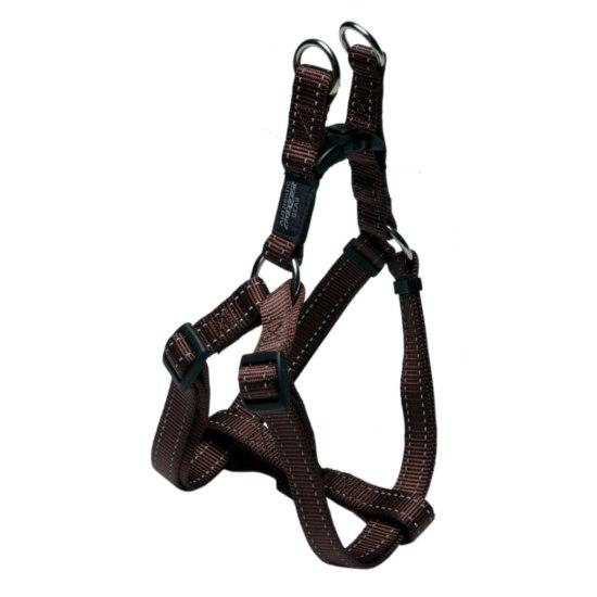 Rogz Fanbelt Step-in Dog Harness, Chocolate, 3/4-in x 21-30-in