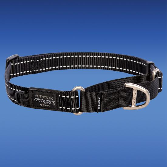 Rogz Fanbelt Web Control Dog Collar, Black, 3/4-in x 14-22-in