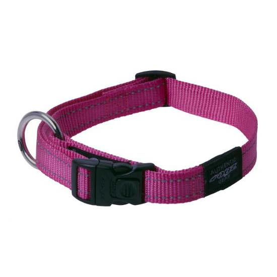 Rogz Lumberjack Clip Dog Collar, Pink, 1-in x 17-27-in