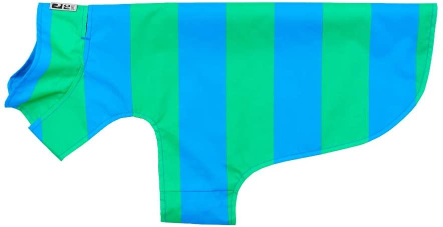 RC Pet Products Delta Rain Dog Slicker, Cyan Stripe, Medium